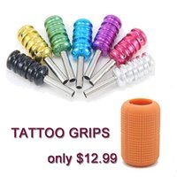 Wholesale Tube Tattoo Silicon - USA Dispatch Pro Tattoo Machine Gun Grip Tube Back stem Kit 7 Color with Autoclavable Soft SILICON GRIP COVERS Orange Supply