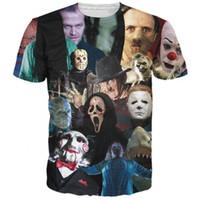 Wholesale Horror Shirts - Unisex women men summer harajuku short sleeve 3d t shirt tops horror movie killers Halloween Devil print tee shirts camisetas