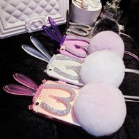 Wholesale Black Rabbit Tail - Stuffed Toys Folding Rabbit Ears Kickstand Phone Cases Rhinestines Diamonds Decoration Back Cover with Rex Rabbit Tail Fur Ball Phone Case
