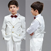 Wholesale Cheap Blue Kids Tuxedos - Hot Sale! Custom Made Amazing Kids' Tuxedos White Boys' Suit,Cheap Handsome Wedding Party Boys' Formal Occasion Suit Formal Attire