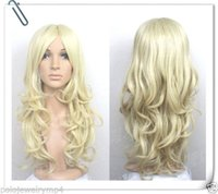 Wholesale Blonde Haired - 100% Hot Sell Brazil dark-haired woman wig cosplay Heat Resistant synthetic?New wig Cosplay New long Pale Blonde Curly Wig
