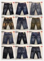 Wholesale rock revival jeans 32 - Free Shipping good quality new Mens Robin Rock Revival Jeans shorts Crystal Studs Denim Pants Designer Trousers Men's size 32-42 shorts