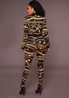 Wholesale Low V Neck Jumpsuits - 2017 new digital printing long-sleeved women's suit jumpsuit two-piece stitching zipper pencil pants round neck in the waist