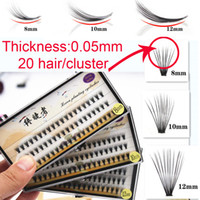 Wholesale Eyelash Extensions Flares - thickness 0.05mm 20 hair cluster Flare Knot Free Silk eyelash Natural Long Black Individual Eyelash Extension Synthetic Extension Kit