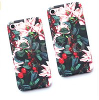 Wholesale Hard Case Leaves - Classical Cherry Floral Phone Cases For iPhone 7 6 7 6s Plus Flower Leaves Case Hard PC Full Back Cover Capa