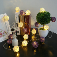 Wholesale Wicker Wholesalers - 100LED Heads Rattan Ball Wicker String Lights AC220V AC110V LED Fairy Lamps Christmas Light Wedding Festival Party Decoration