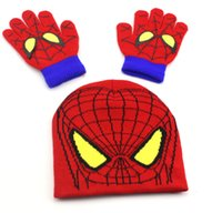 Wholesale Wholesale Minions Winter Hats - 2 Style Minions big eyes Spiderman Hip Hop Woolen gloves Cap Adjustable hats for 2-7 years kids Snapback outdoor sports cartoon Hat