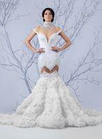 Wholesale training corset cheap - 2017 Newest Mermaid High Neck Wedding Dresses Cheap Full Beading Vintage Corset Wedding Dresses Beidal Gowns