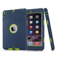 Wholesale Ipad2 Covers - Armor Shockproof Heavy Duty Silicone Hard Case Cover for iPad 2 3 4 5 6 air air2 mini 1 2 3 ipad2 Shock-Absorption Armor Protective Cases