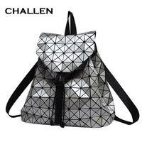 Wholesale Holographic Bags - Women Backpack Feminine Geometric Plaid Sequin Female Backpacks For Teenage Girls Bagpack Drawstring Bag Holographic Backpack