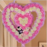 ingrosso case da sposa-Decorazione nuziale nuziale della casa nuziale decorata ghirlanda di piccoli orsi 555 cm ghirlande di orso laterale a forma di cuore a forma di garza