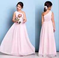 Wholesale Cheap Dresses For Junior Girls - Pink One Shoulder Junior Bridesmaid Dresses 2018 A Line Chiffon Little Flower Girl Dresses For Weddings Cheap Floor Length Kids Wear