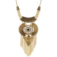 Wholesale Triangle Tassel Necklace - European Retro Gem Rhinestone Carved Flower Big Round Triangle Chain Tassel Necklace Ball Earring Jewelry Set