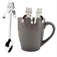 Wholesale Wholesale Drinking Gadgets - Cute Cat Spoon Long Handle Spoons Flatware Drinking Tools Kitchen Gadgets