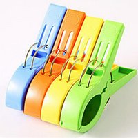 Wholesale Windproof Clothes Pegs - Home use 4pcs lots Plastic Clips Clothes Hook Laundry Clips Multipurpose Bra Socks Hanger Pegs Windproof Clothespins