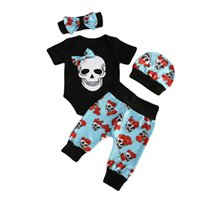 Wholesale cool baby clothes for sale - Mikrdoo Halloween Newborn Clothes Infant Baby Boy Short Sleeve Skull Romper Floral Long Pants Hat Headband Outfit Set Cotton Cool Suits