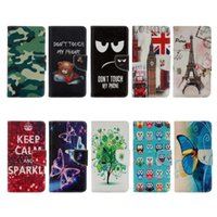 Wholesale Eiffel Tower Bell - For Iphone 7 4.7 Plus 5.5 Camouflage UK Flag Flower Wallet Leather Owl Bell Don't Touch My Phone Butterfly Keep Calm Eiffel Tower Flip Cover