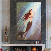 ölfarbe meerjungfrau großhandel-Handgemalte Leinwand Ölgemälde Meerjungfrau Bilder Nizza Home Wall Decor Großhandel für Verkauf Kein Gestaltet
