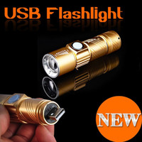 Wholesale Led Torches China - Wholesale Top quality So bright Aluminum USB Rechargeable Led Flashlight With Zoomable head,Outdoor Multifunction focus adjustable LED torch