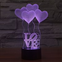 Wholesale Love Heart Shape Light - 3D Valentine's Day heart-shaped balloon LOVE Bulbing Romantic Night Light Lamp Colorful Acrylic home bedroom lamp-3D-TD10