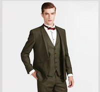 Wholesale Costum Made - Wholesale- The costum made hot sale high quality black notched collar a button groom suit dress ball gown (coat + tie + jacket + pants)