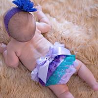 Wholesale Wholesale Satin Diaper Covers - 15% off! Newborn 0-3 Years Baby Satin Ruffle PP Shorts Pants Children Bowknot Bloomers Skirt Diaper Cover 6pcs(3pcs pants+3pcs hairbands)