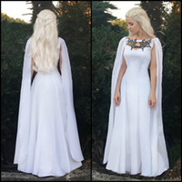 Wholesale Cape Necklaces - Game of Thrones Season 7 Costume 2017 Daenerys Meereen Dresses White Dragon Necklace Gown + Cape - Cosplay Costume White Prom Dresses