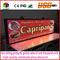 Wholesale Color Led Message - RGB Full color P5 Indoor LED Message Sign Moving Scrolling Display Board Free Ship for shop& windows