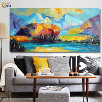 Wholesale Original Handmade Wall Art - ART Original Mountain Landscape Handmade Modern Abstract Oil Painting on Canvas Wall Art Gift for Living Room Decor