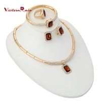 Wholesale Brown Crystal Necklace - WesternRain Women's Crystal Jewelry Set Brand 18K Gold Plated Party synthetic gemstone Fashion Rhinestone Blue Brown Jewelry A137