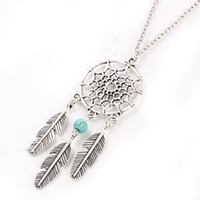 Wholesale Antique Turquoise Charm - Dreamcatcher Mesh Leaf Wings Charms Necklace Turquoise Pendant Boho Necklace Ethnic Bohemia Jewelry Statement Antique Silver Necklace