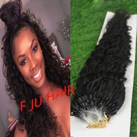Wholesale Deep Curly Micro Loop - Hot 100strands set Natural Color 6a Unprocessed African American Deep curly Micro Beads Loop Hair Extensions Remy Human Hair Extensions