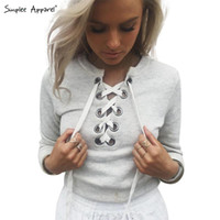 Wholesale Ups Apparel - Wholesale-SIMPLEE APPAREL Gray lace up ladies sweatshirt women Autumn crop top long sleeve girl v neck hoodies sweatshirt warm casual tops