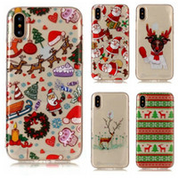 Wholesale Iphone Skin Tree - Christmas Gift Soft TPU Case For iphone X 8 7 Plus 6 6S SE 5 5S 5C Bling Santa Claus Clear Tree Snow Moose Cartoon Cute Back Skin Cover