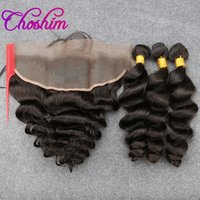 Wholesale Wholesale Weft - Choshim sloveHair Weft Frontal Brazilian Unprocessed Remy Hair Loose Wave 13X4 Ear to Ear Lace Closure With 3or4 Bundles For Black Woman 10A