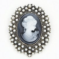 Wholesale Antique Brooch Pearls - Vintage Stylish Antique Silver Tone Imitation Pearl Beads Lady Cameo Delicate Brooch Elegant Retro Style Women Pin Brooch For Party