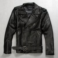 Wholesale Men Cow Leather Jacket - Fall-Factory 2016 New Men's 100% Genuine Leather Cowskin Jacket Men Real Calf Cow Skin Punk Rock Bomber Motorcycle Biker Coats