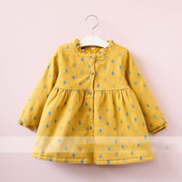 Wholesale Raindrop Green - Everweekend Girls Raindrop Ruffles Dress Cute Baby Pink Yellow and Green Color Clothes Princess Button Autumn Winter Clothing