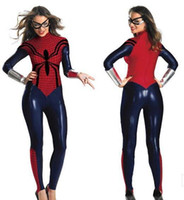 Wholesale Super Sexy Uniform - Halloween Female Spider Man Cosplay Sexy Costumes 2018 PVC Teddie Goggle Wrist Bands The Uniform Temptation Sexy Costumes FS3102