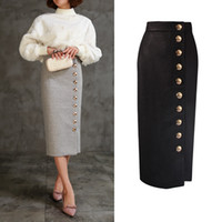 Wholesale Wool Skirts Vintage - High Quality Women Wool Long Pencil Skirts 2017 Autumn Winter Vintage High Waist Office Lady Work Single Breasted Gold Button Bodycon Skirts