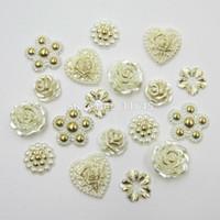 Wholesale Flat Back Decor - 120pcs 12-18mm Mixed Size Mixed Shape Ivory Hot Stamping Imitation Pearls Flat Back Gold Plated Beads For Wedding Card DIY Decor