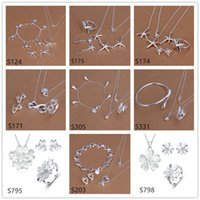 Wholesale Cheap Sterling Silver Fashion Rings - mixed style women's sterling silver jewelry sets,cheap fashion 925 silver Necklace Bracelet Earring Ring jewelry set GTS58