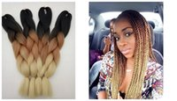 "Wholesale Black Braid Hair - New Trendy Ombre Color Black Brown Beige 3T Box Braiding Hair Extension 5packs lot Synthetic Cabeo Haar Zopfe 24"" African Braiding Hairstle"
