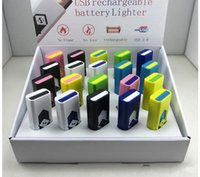 Wholesale Led Usb Rechargeable Lighter - USB Electronic Rechargeable Flameless Cigar Cigarette Lighter LED Rechargeable Cigarette Flameless Lighter Windproof usb lighter