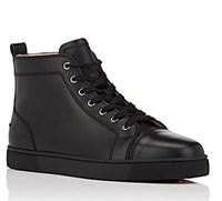 zapatillas de picos negros al por mayor-2018 Diseños Zapatos de moda de hombre Zapatillas bajas rojas Zapatos de boda de fiesta de lujo Pies de Louisfalt de cuero genuino Zapatos casuales con cordones Negro Whi