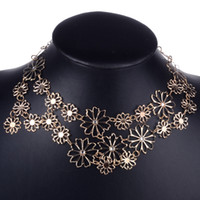 Wholesale Necklace Bohemian Bib - Brand New Nice Women Chain charming Jewelry Flower Bib Choker Pendant Statement Necklace 1Pcs Free Shipping[JN06209]