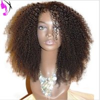 Wholesale green ombre hair medium resale online - Top Quality Fiber Kinky Curly Synthetic Lace Front Wigs Density Glueless Lace Wig Synthetic Hair Wigs with baby hair For Black Women