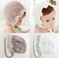Wholesale Cute Korean Kids Winter Hat - 2016 Korean Cute Kids Pure Cotton Hats Infant Baby Girls Lace Star Children Fashion Vintage Christening Hats Summer Baby Caps K7149