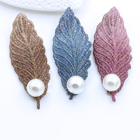 Wholesale Korean Hair Accessories China - Hairpin Korean Fashion Hair Accessories Simulated Pearl Leaf Hair Clip Wedding Tiara Hairpins Hair Stick Hair jewelry