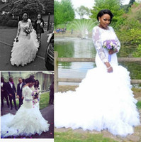 Wholesale Long Fitted Wedding Gowns - Trendy Lace Ruffles African Mermaid Wedding Dresses Sheer Long Sleeve Tiers Plus Size Fitted 2018 Bridal Gown Train Bride Dress Custom